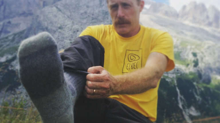 fitting merino socks during hiking in marmolada